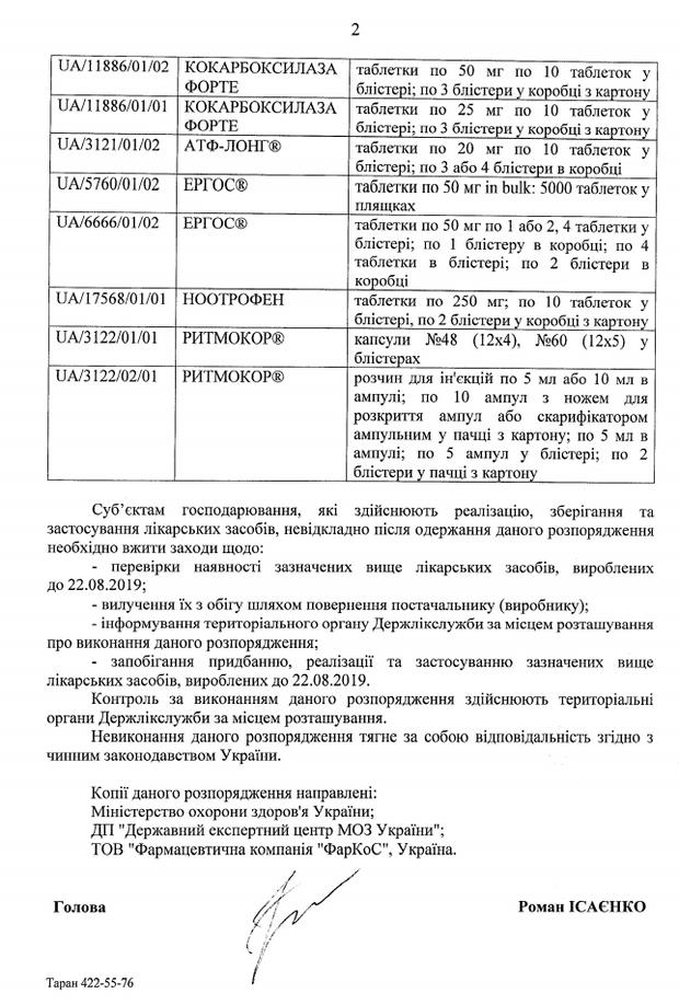В Україні заборонили кілька препаратів компанії