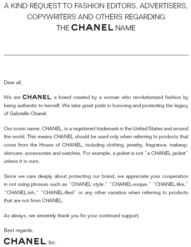 Офіційна заява Chanel