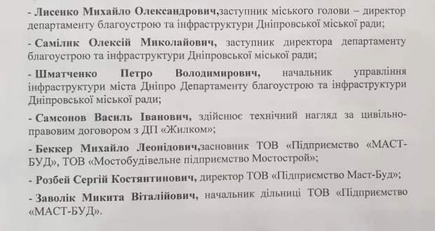 список подозрения Центральный мост Днепр