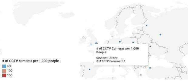 Київ серед 50 міст світу із найбільшою кількістю камер спостереження