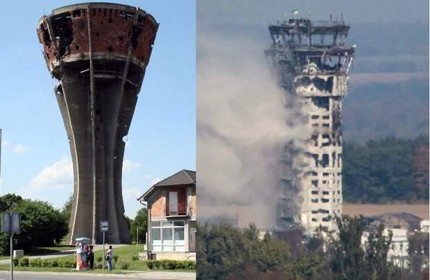 вуковарська водонапірна башта та аеропорт донецьк