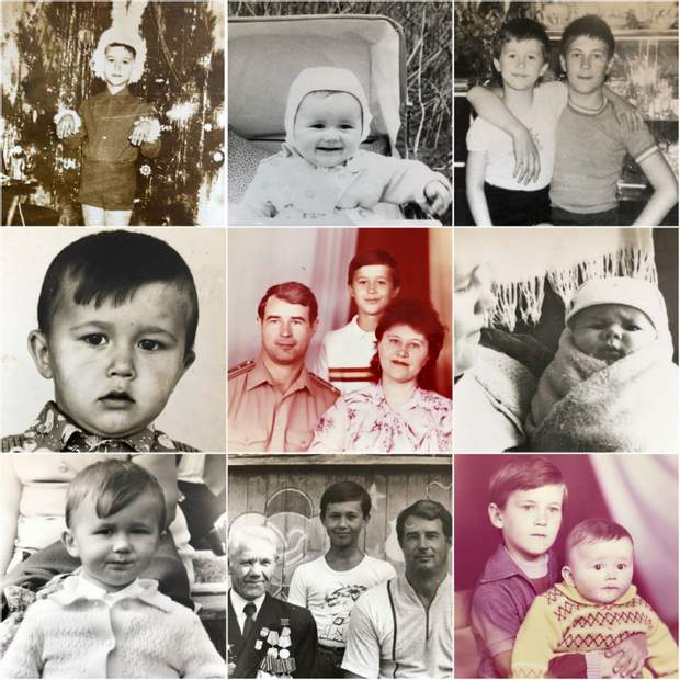 Сергій Бабкін в різні роки свого життя