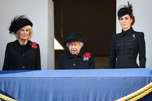 Єлизавета ІІ з герцогинями Каміллою і Кейт