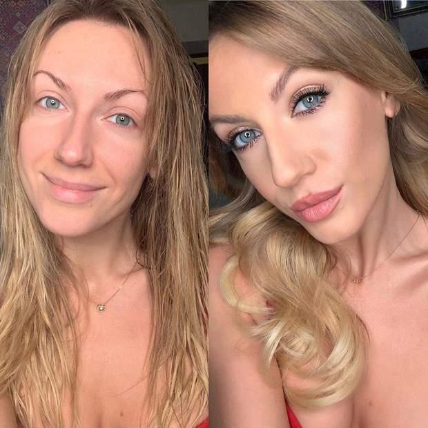 Леся Нікітюк до і після макіяжу