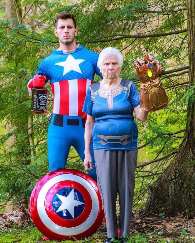 Бабуся з онуком