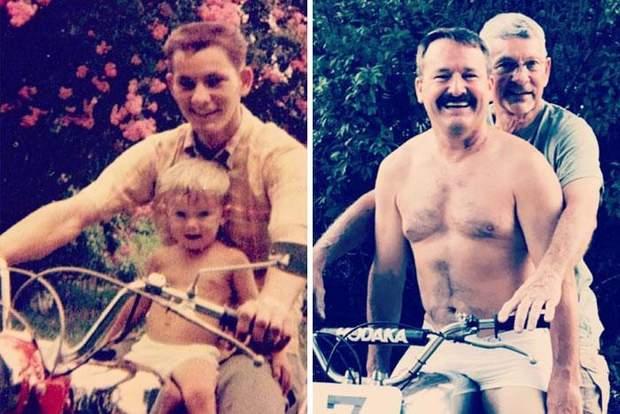 Фото тата з дитиною та мотоциклі