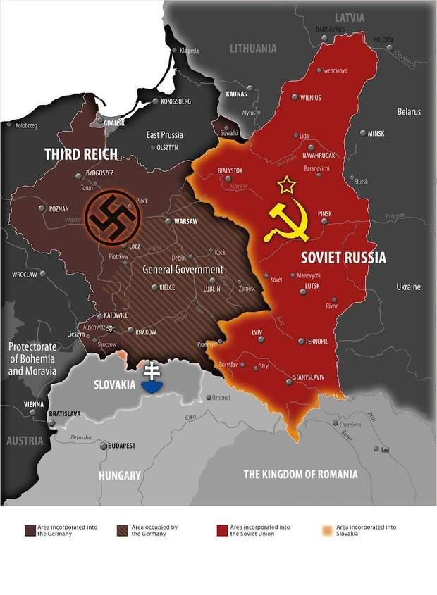 Карта поділу польщі друга світова війна