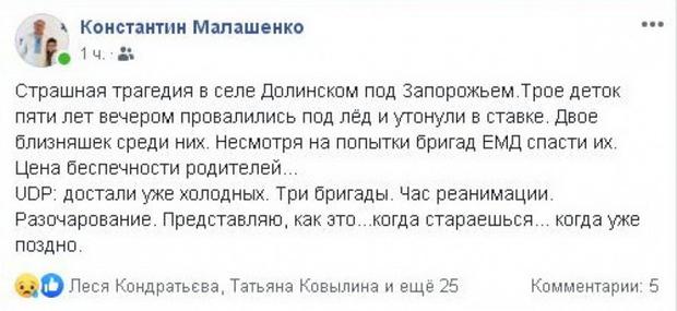 Трое детей провалились под лед и погибли в Запорожской области
