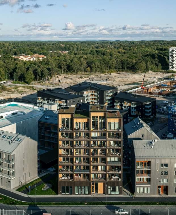 Будинок помітно виділяється на фоні стандартних будівель