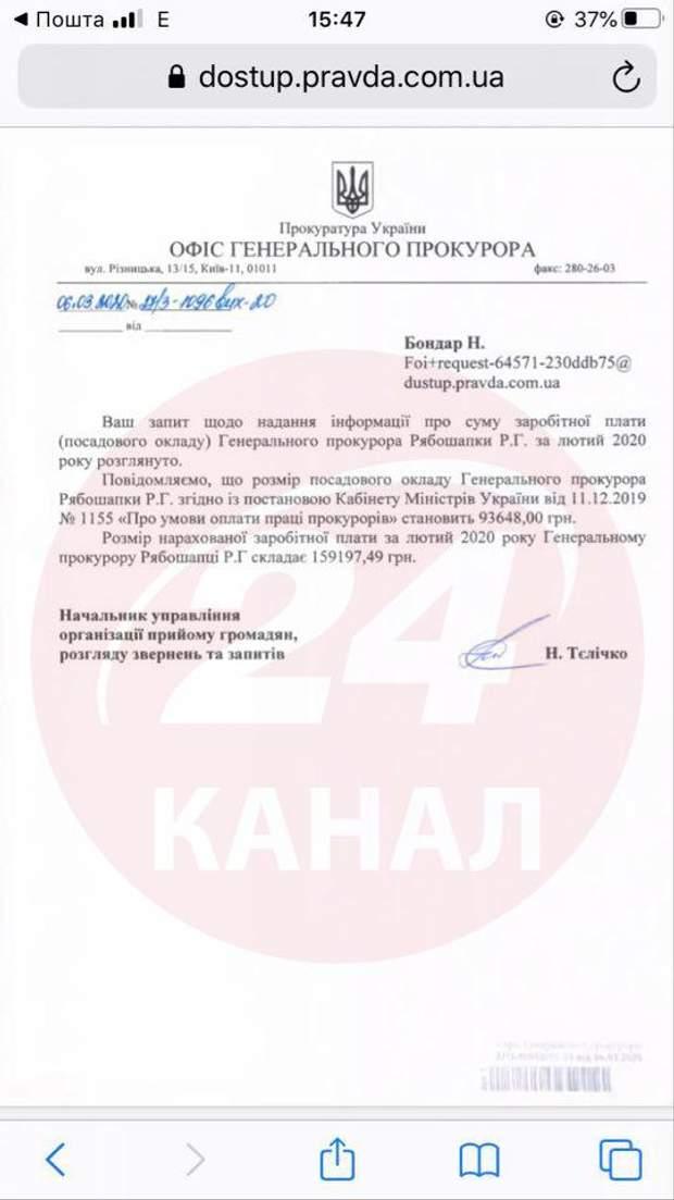 Рябошапка, генпрокурор, Офіс Генпрокурора, зарплата, лютий 202о