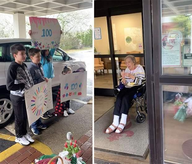 Внуки прийшли привітати бабусю з 100-річчям