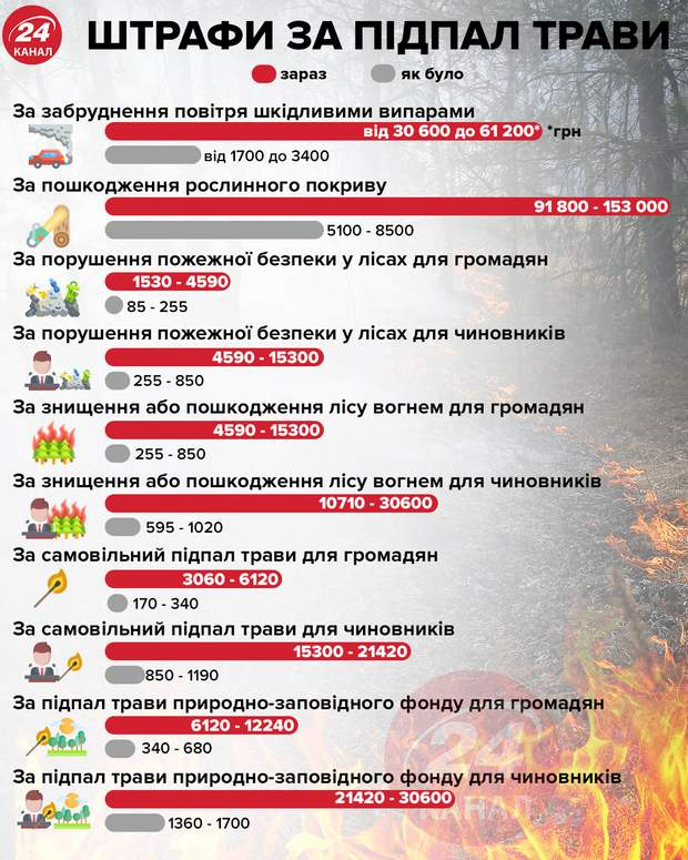 Штрафи за підпал трави інфографіка 24 канал
