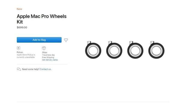 Apple почала продавати коліщатка для Mac Pro за 700 доларів