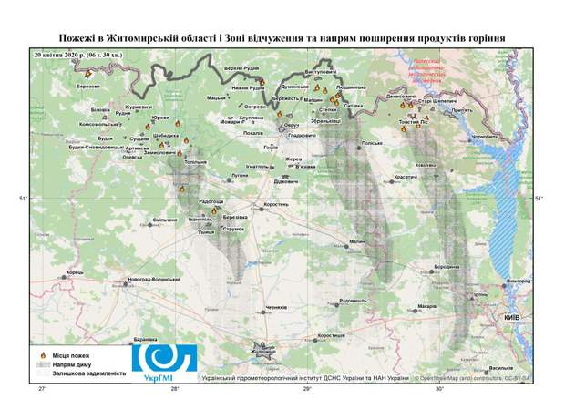 пожежа у Житомирській області, карта