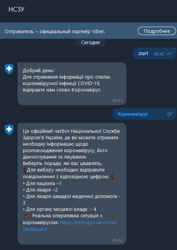 У Viber створили чат-бота з інструкціями для лікарів щодо COVID-19