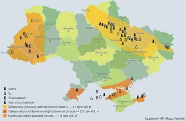 газові родовища України, карта