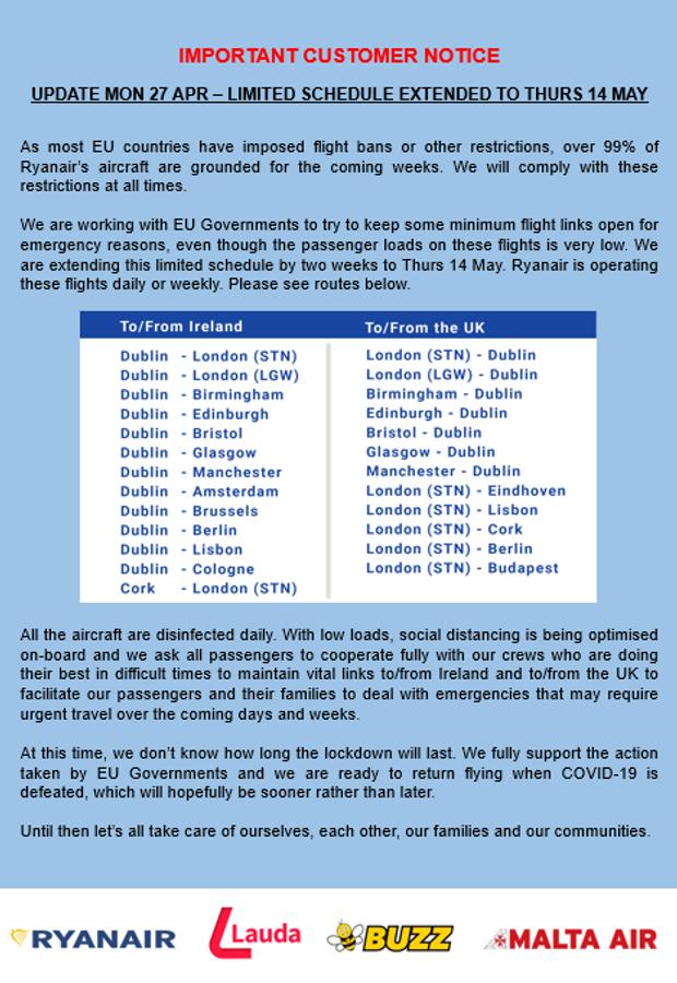 Ryanair, польоти, авіація, лоукост, карантин, коронавірус, COVID-19