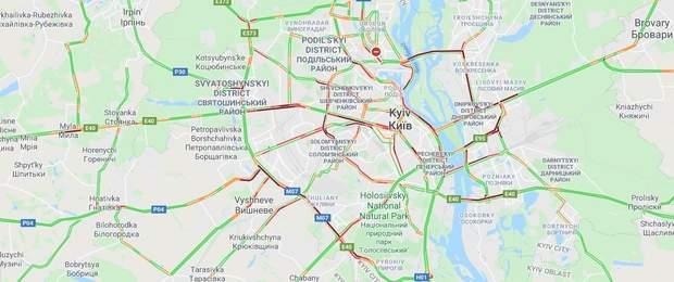 Затори на вулицях Києва