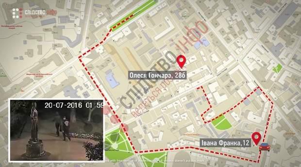маршрут підозрюваних у вбивстві Павла Шеремета