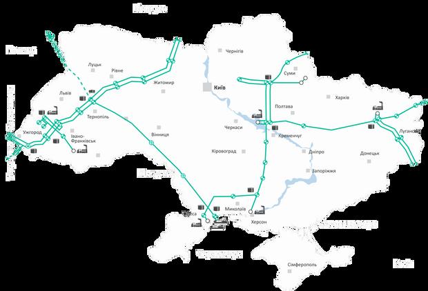 нафтопроводи України, карта