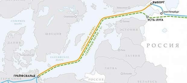 Північний потік-2, карта