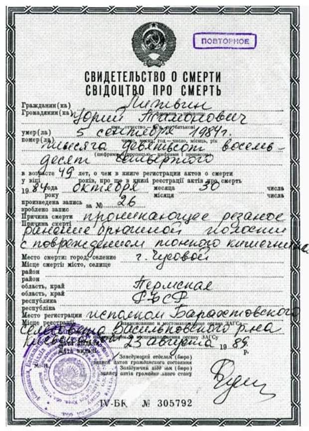 дисидент Литвин свідоцтво про смерть
