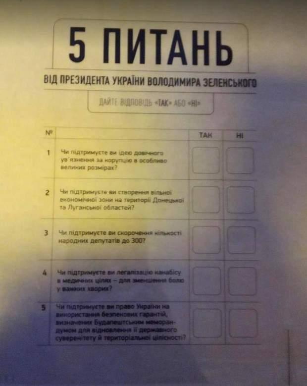 всеукраїнське опитування Зеленського, бланк