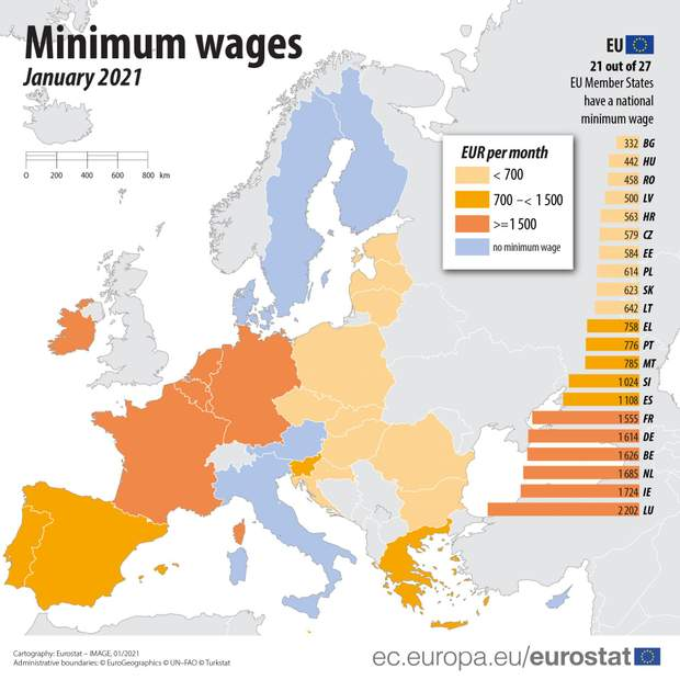 средние зарплаты в Европе, 2021