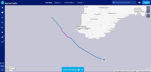 У Росії показали шлях корабля