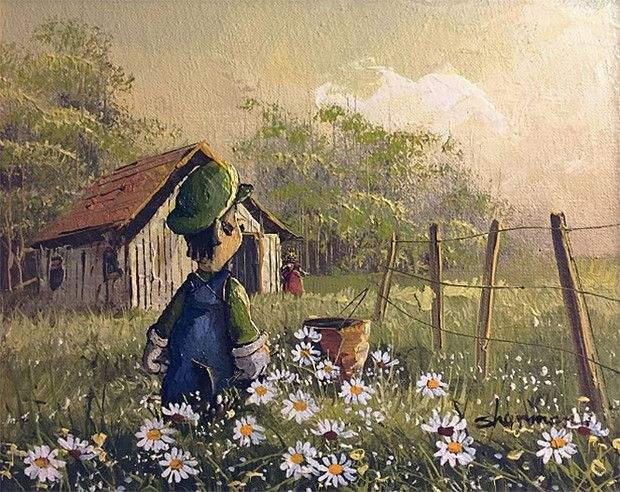 Художник скуповує невідомі картини та вписує туди найнесподіваніших персонажів.