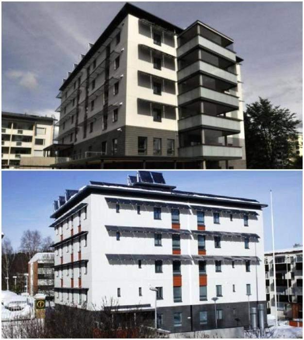 Зовні будівлі вкривають теплоізоляційними матеріалами