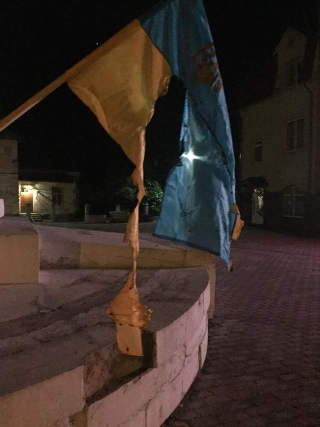 В сети опубликовали фото мужчины, который на Львовщине жег государственные флаги