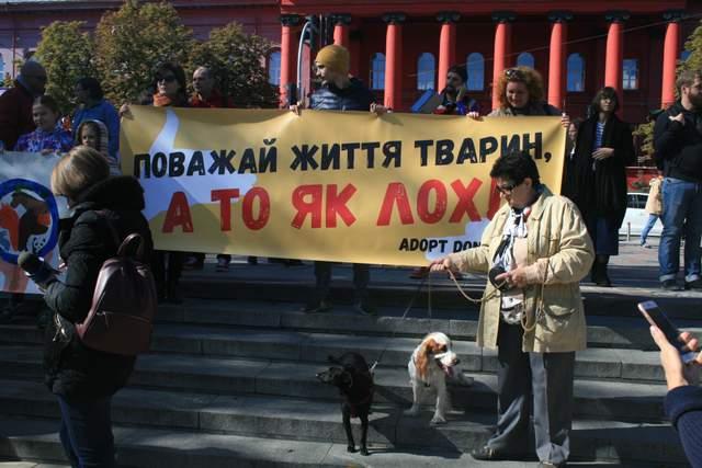 «Уважай жизнь животных, а то как лох!»: яркий фоторепортаж с марша за права животных в Киеве