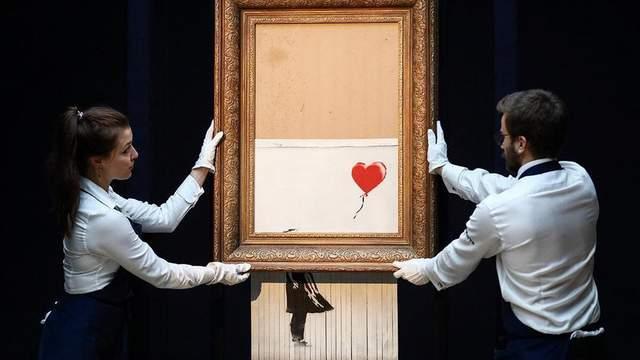 Знаменитая картинка Бэнкси впервые появилась на выставке после «уничтожения»: фотодоказательство