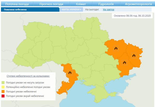 Пожежна небезпека, Україна. 6 - 8 жовтня 2020