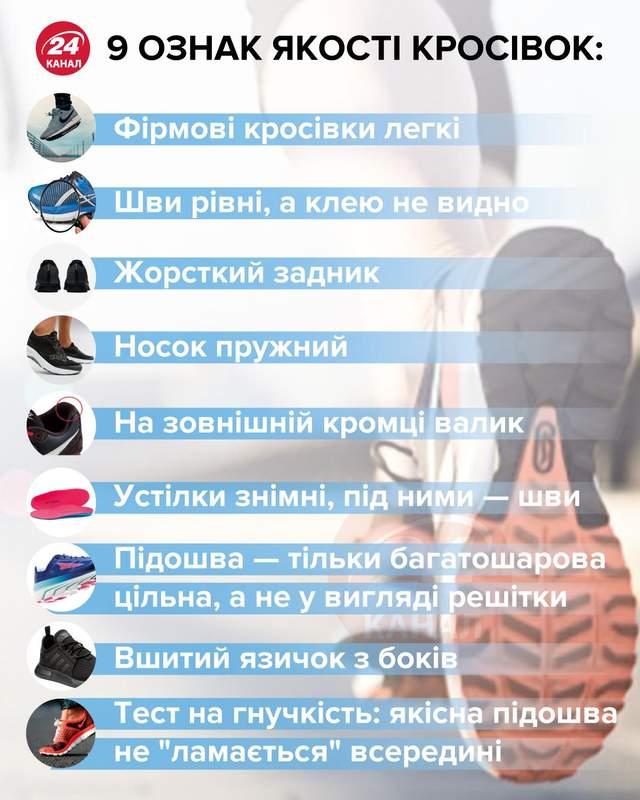 9 ознак якості кросівок інфографіка 24 каналу