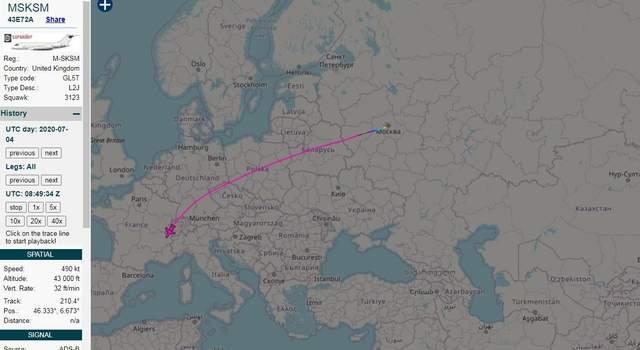 скриншот польоту літака медведєвої