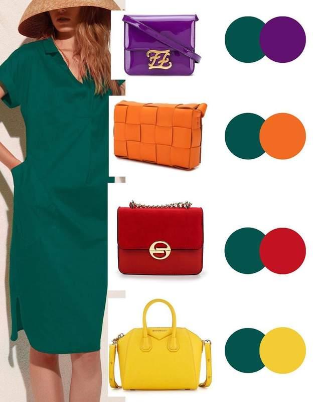 Смарагдова сукня: як підібрати сумку