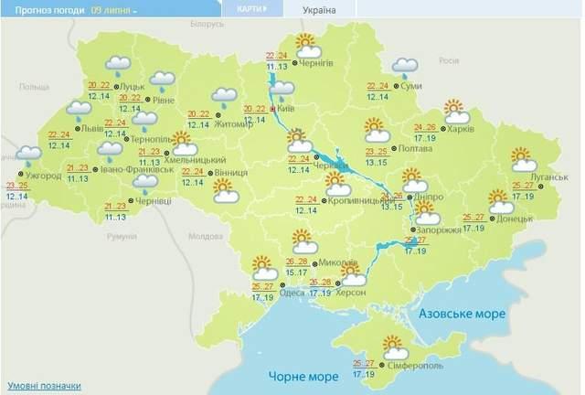 прогноз погоди на 9 липня