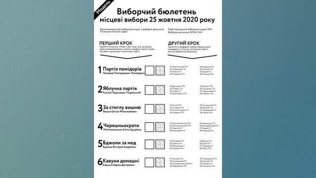 місцеві вибори бюлетень
