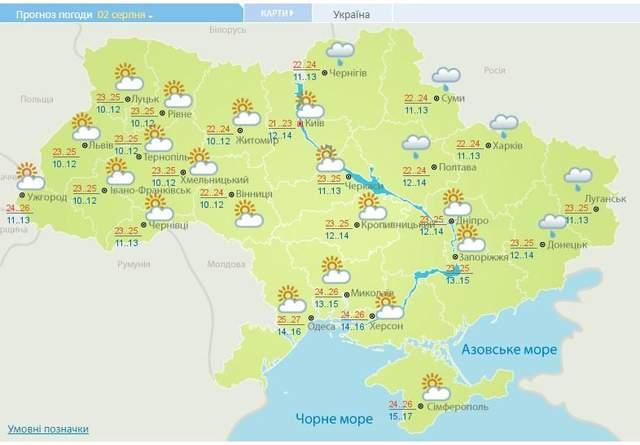 прогноз погоди на 2 серпня