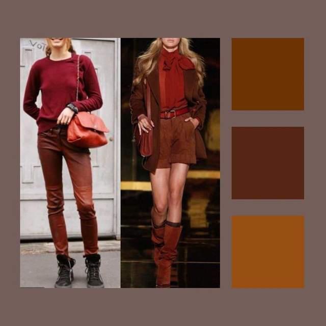 Як червоне вбрання поєднати з коричневим