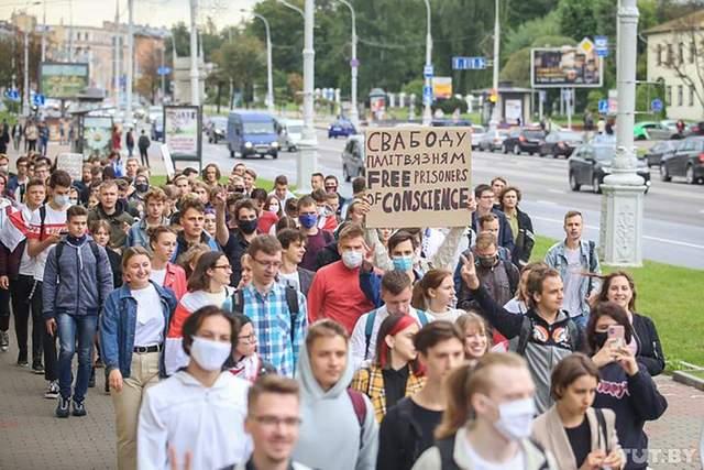 колона студентів мінськ протестна хода