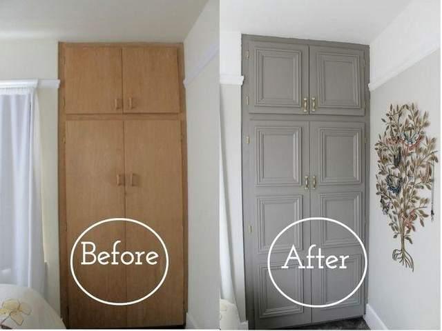 До и после реставрации шкафа