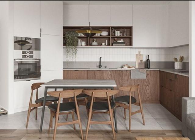 В кухне объединили белый цвет и текстуру дерева