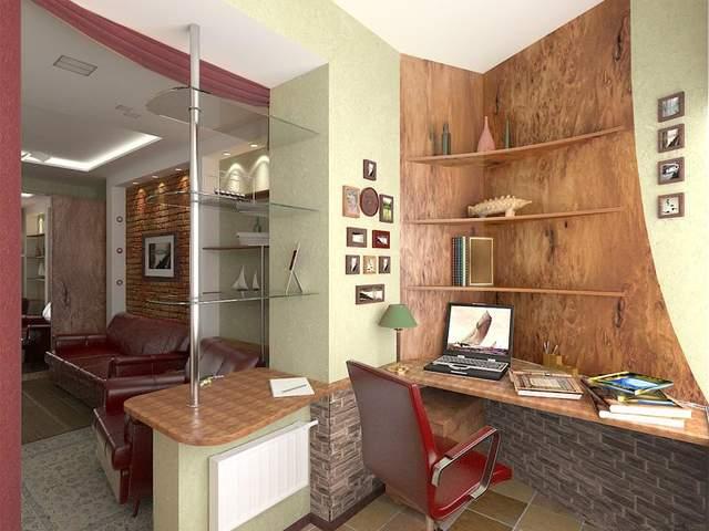 Прекрасно смотрится интерьер, в котором балкон соединен с комнатой