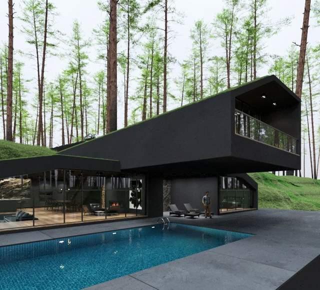 Зовні дім також повністю чорний