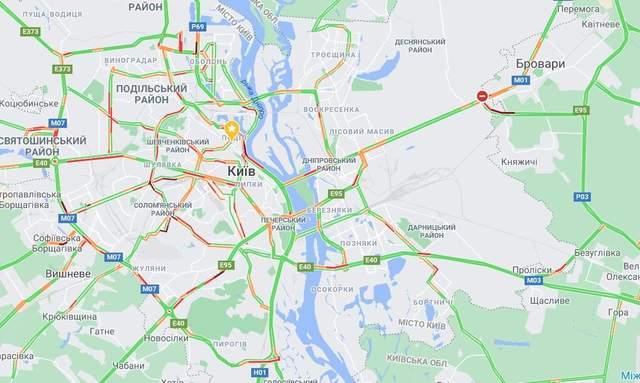 Де у Києві 13 листопада затори / Скриншот Google Maps