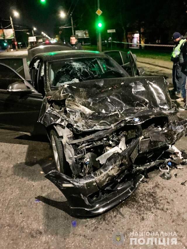 BMW після ДТП у Миколаєві / Фото Нацполіції