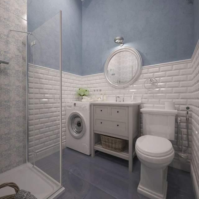 Ванна кімната блакитного кольору